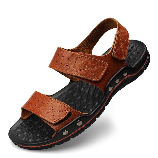 0a93fb543a42d7 Plus Size 38-47 Men Sandals Genuine Leather Fashion Summer Shoes Men  Slippers Breathable Men s