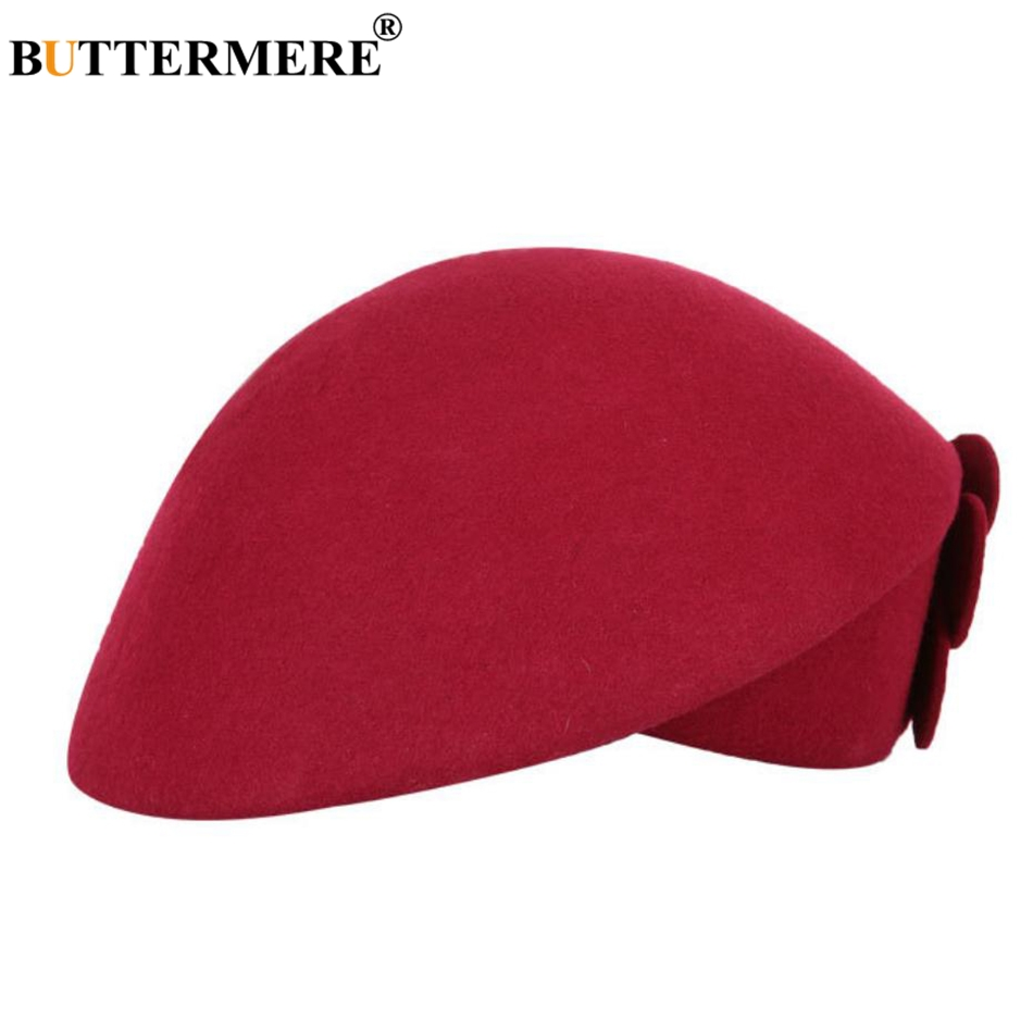 BUTTERMERE Elegant Hats For Ladies Wool Red Fedoras Flower Grace French Berets Women Cap Solid Warm Autumn Winter Felt Hat Black 22