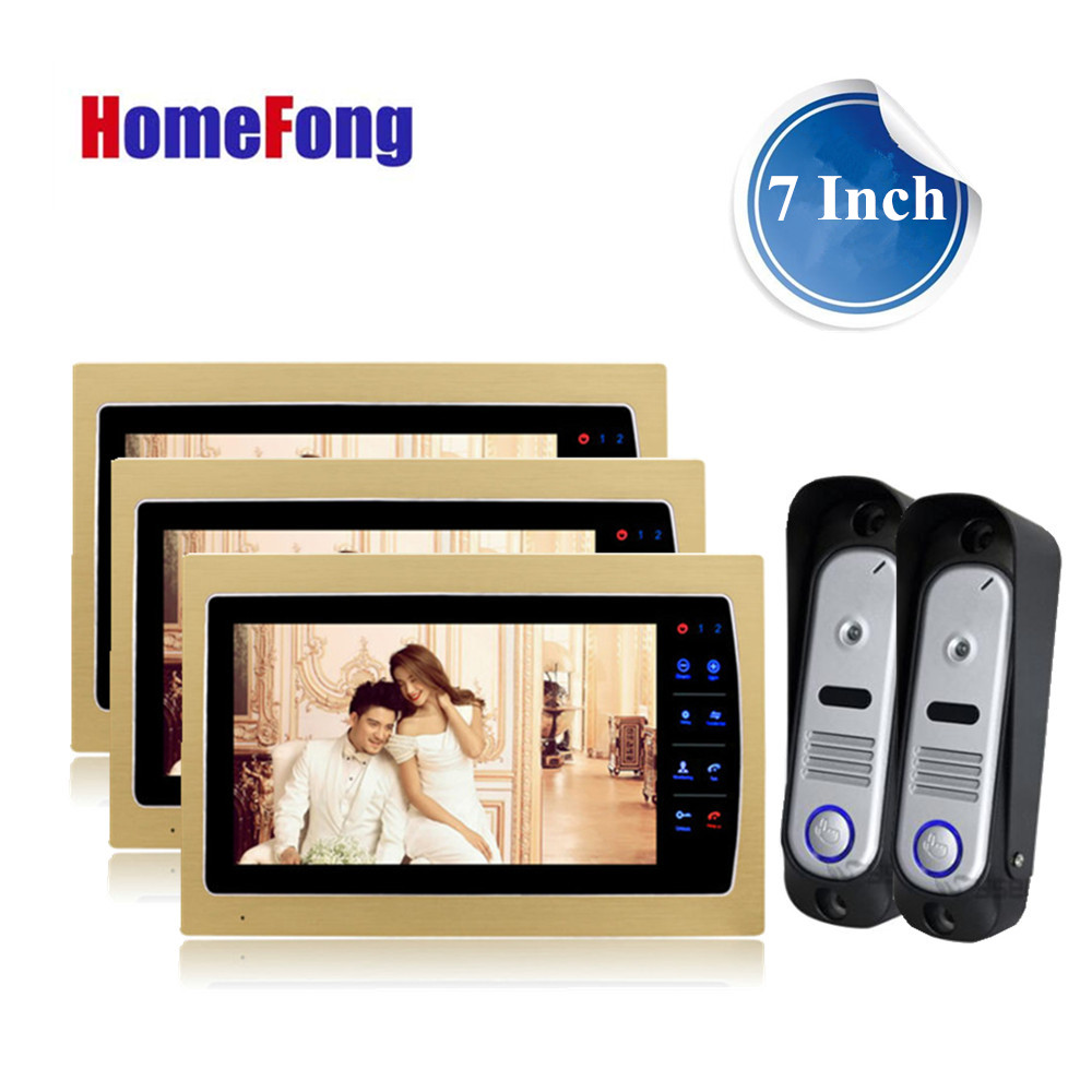 Homefong Video intercom system recording Video Door Phone 3 monitors and 2 outdoor doorbell camera 800TVL Day/Night Vision Gold homefong security 4 tft lcd screen night vision video door phone intercom doorbell kit hd 800tvl 2 indoor unit 2 outdoor unit