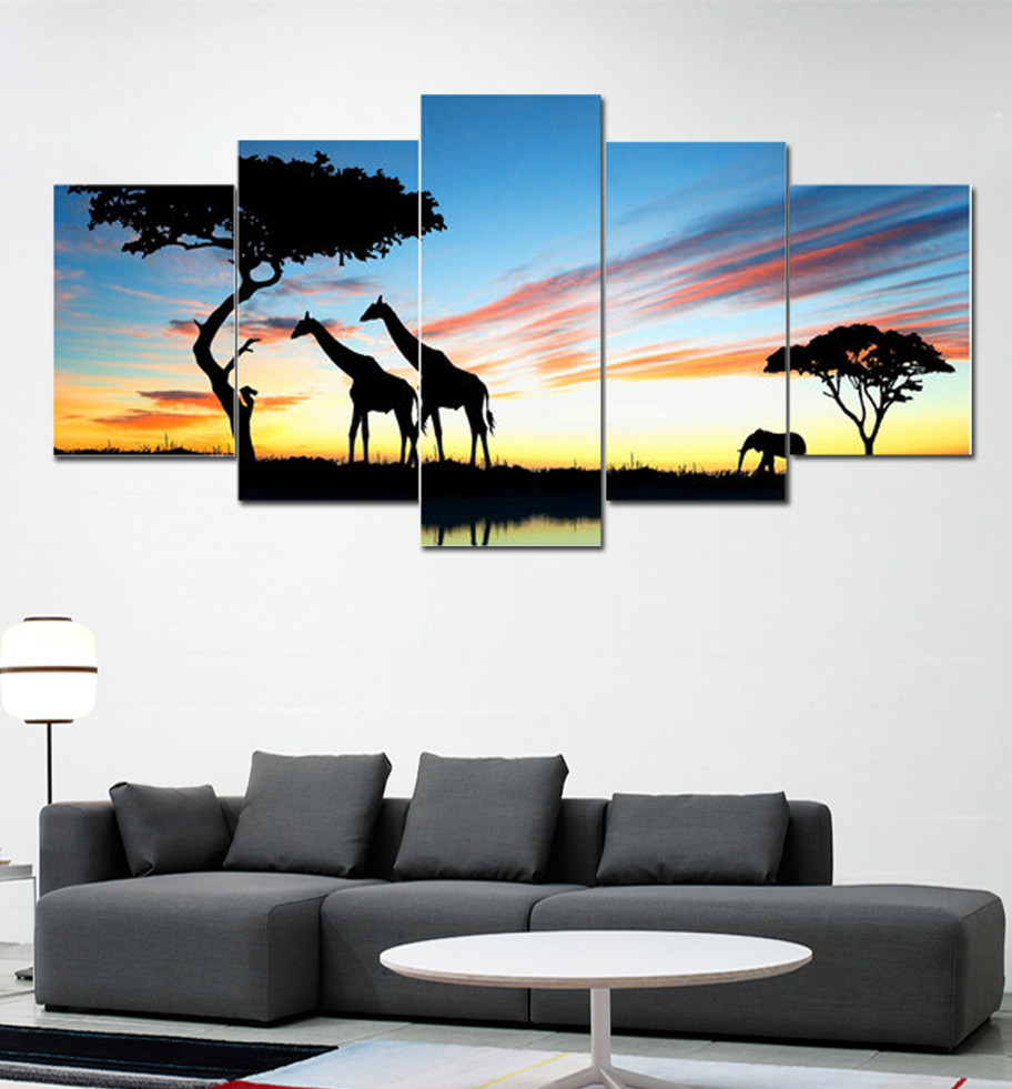 Home Office Sets Painted Office 5 Piece: No Framed Print 5 Piece Fashion Deer Elephant Canvas