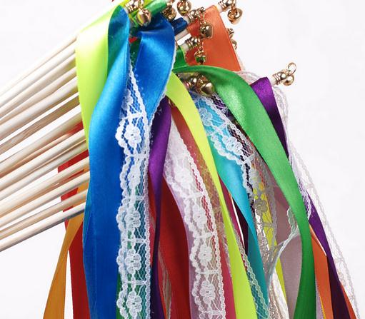 ᗑFairy wand Lace satin ribbon streamers wedding wish magic wands ...