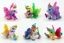 New 6pcs 5cm Little carton flocking horses Action Figures Filly Unicorn Doll Anime Figurines Figures Kids Toys For gift