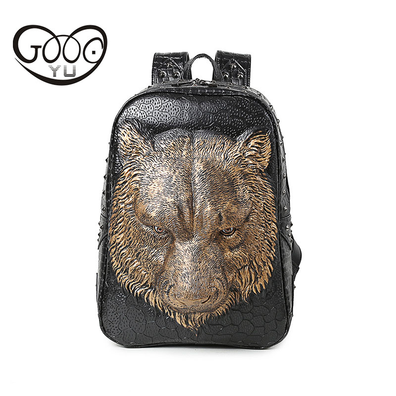 Relief shape laptop backpack women animal portable 3D tiger head leather backpack Embossed Sharp rivets leather bags women in Backpacks from Luggage Bags
