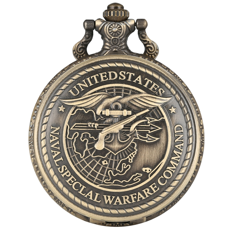 United States Navy Special Warfare Command Quartz Pocket Watch Creative US Navy Seals Necklace Pendant Chain Watch Clocks Gifts