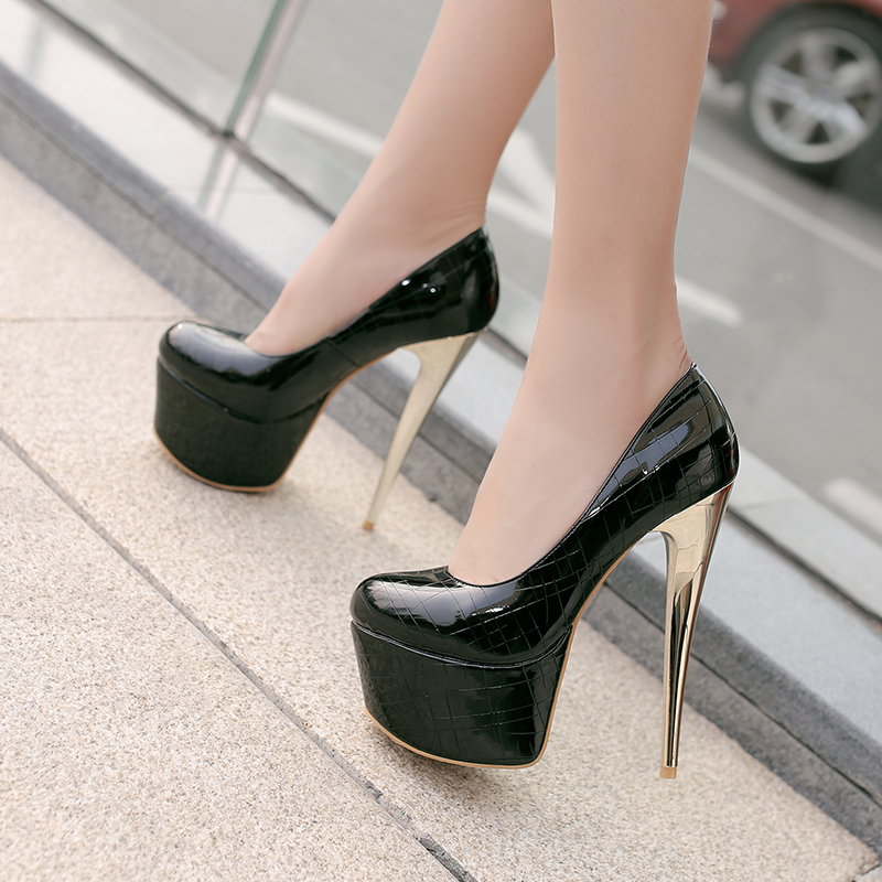 0dcde6d754c9 ... Alionashoo Brand Large Size 34-48 Women 16cm Platform Extreme High Thin Heel  Pumps Female ...