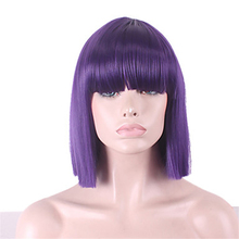 HAIRJOY Full Bangs Medium Length Bobo Style Woman Synthetic Hair Wig High Temperature Fiber 10 Colors Available