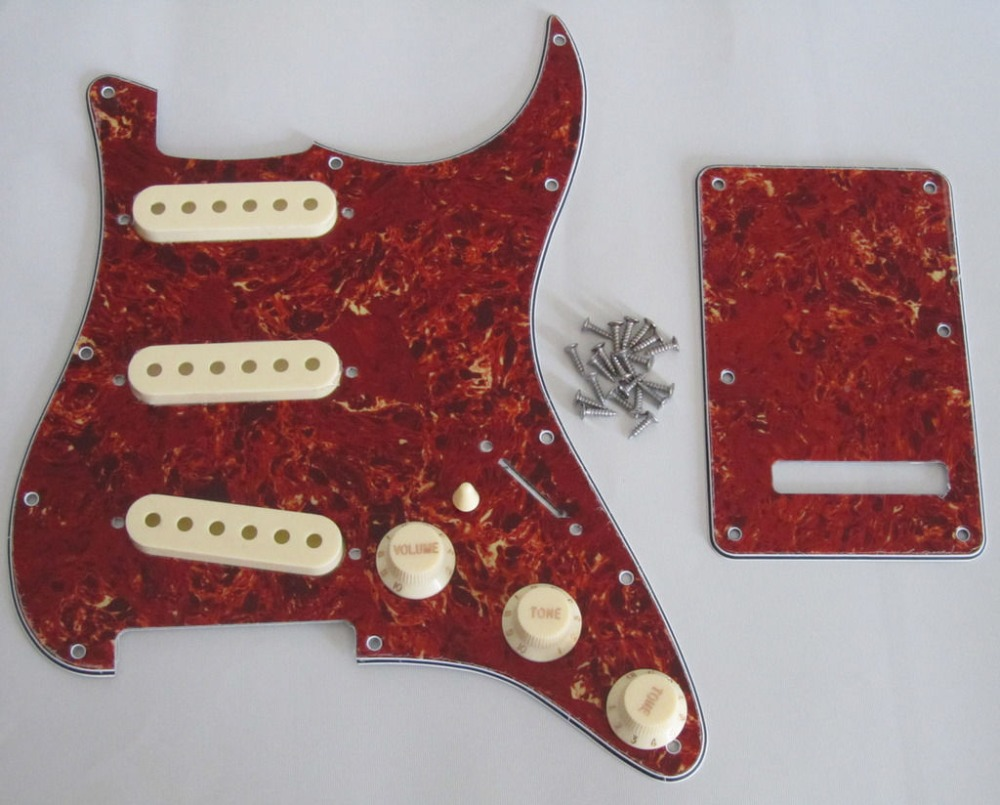 Vintage Tortoise ST SSS Pickguard with Aged White Pickup Covers Knobs Tip
