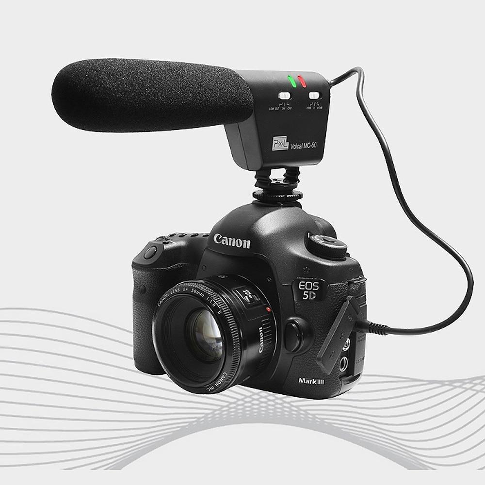 Pixel микрофон Voical MC-50 DSLR камера установлен дробовик микрофон для Canon Nikon Sony Blackmagic