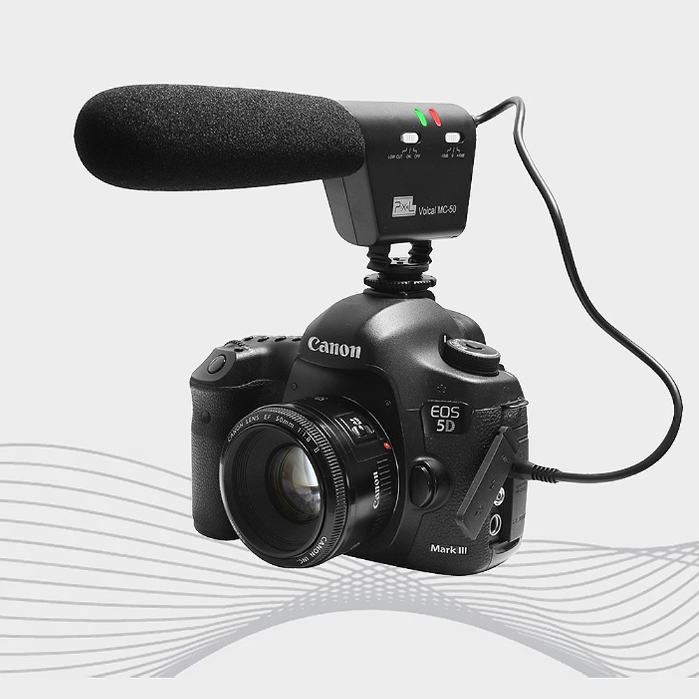 Pixel Microphone Voical MC-50 DSLR Camera Mounted Shotgun Microphone for Canon Nikon Sony Blackmagic