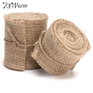 KiWarm Natural Jute Burlap Fabric Wedding Decor DIY Crafts