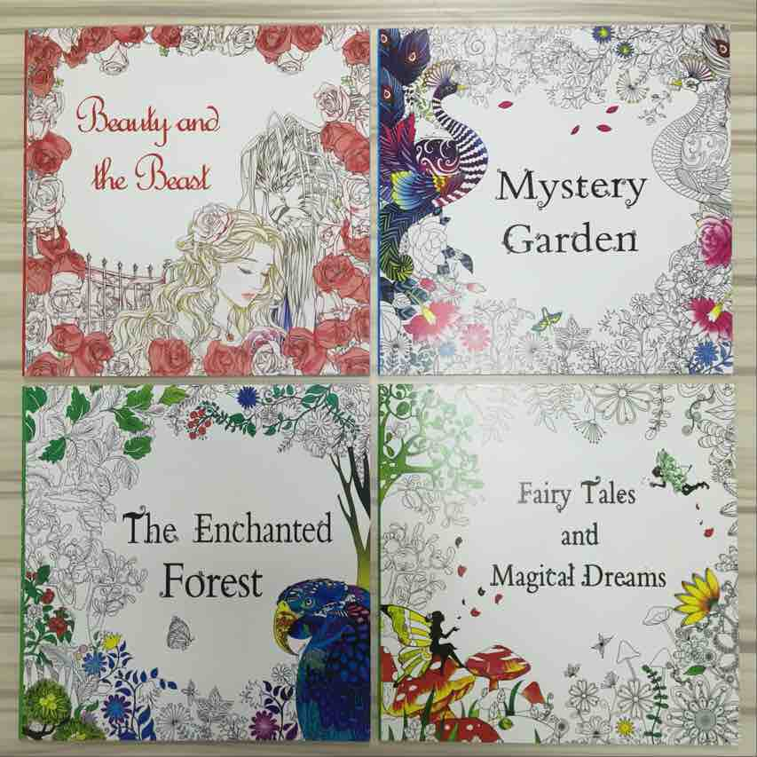 4 Pcs 48 Pages Beauty and the Beast+Mystery Garden+Enchanted Forest+ ...