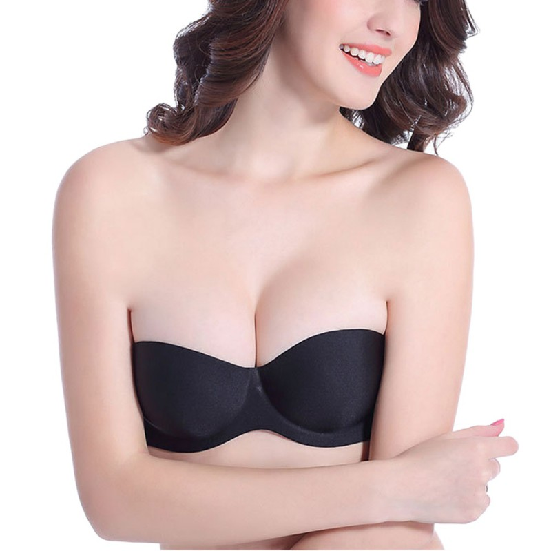 One piece strapless push up bras top women cotton seamless lift brassiere female sexy strapless wire free solid invisible bras