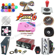 2 Player DIY Arcade Kit Pandora box 6 1300 in 1 game board and 5 Pin joystick American HAPP Style Push Button for Arcade Machine цена