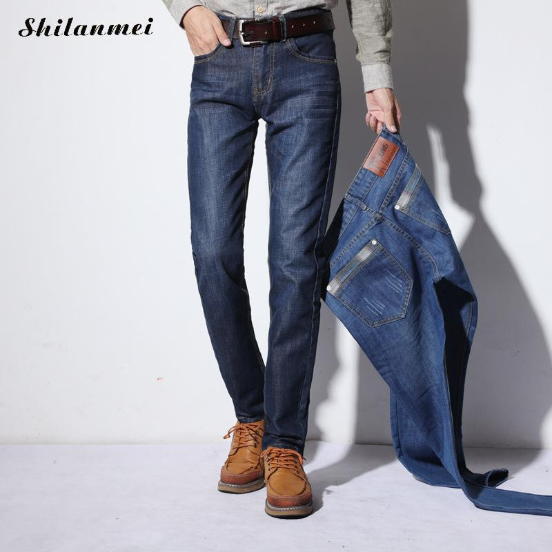 Elastic Slim Business Straight Leg Middle Waist Jeans Men Denim Pants Male Casual Trousers 2017 New Arrival Stretch Blue Jeans new 2016 famous brand men jeans male pants casual stretch slim straight long man trousers jeans for men denim pants y433