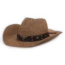 8c40e307 2018 New Top Quality Fashion Mens Hats Raffia straw Copper Decoration  Cowboy Hats for Men Summer Sun Hat Visors Cap Sombreros