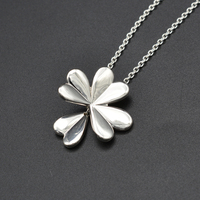New 925 Sterling Silver Necklace Lucky Four Leaf Clover with Sliding Necklace Fit for Women Diy Wedding Gift Jewelry