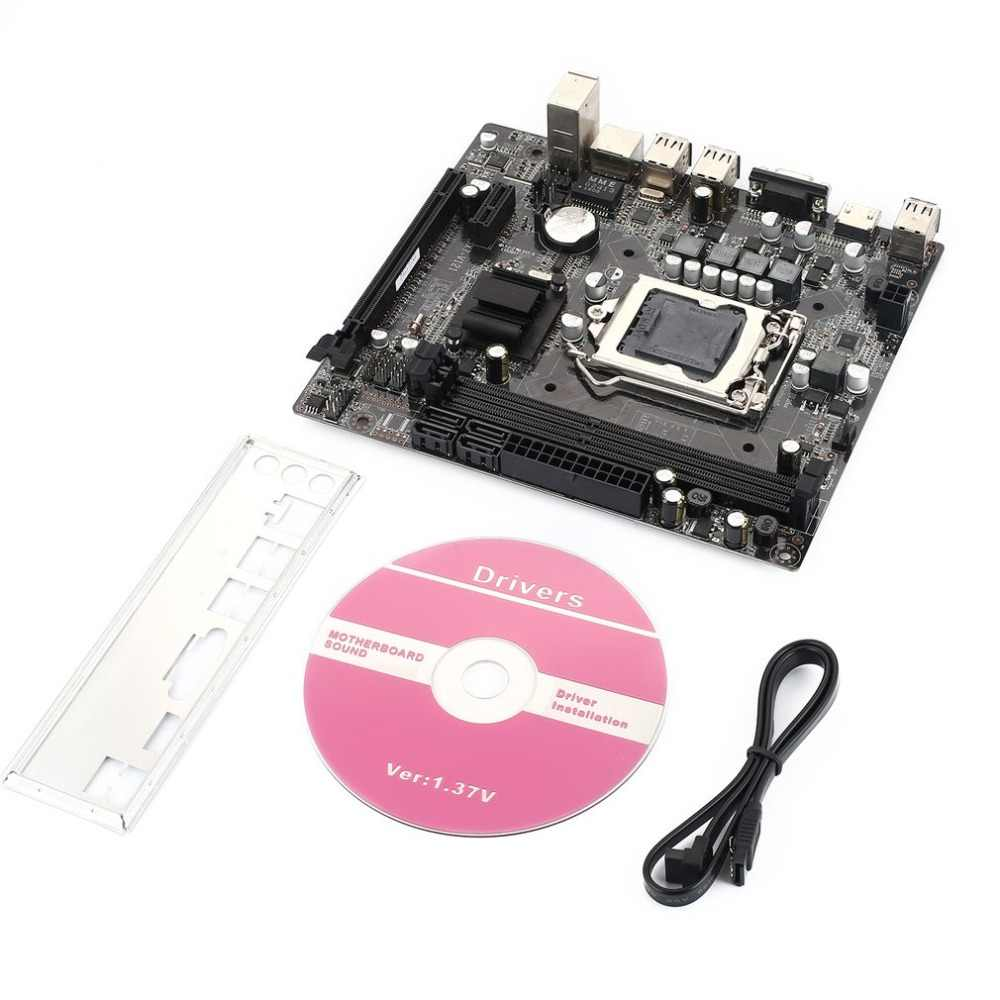 H55 Papan Utama untuk Intel CPU LGA1156 Antarmuka VGA Antarmuka Tampilan DDR3 Dual Channel Memori untuk Deskto