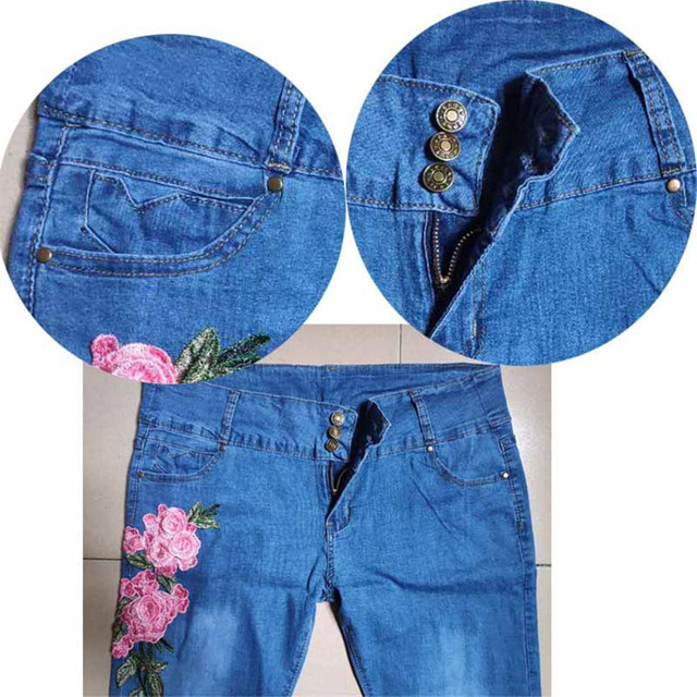 Flower Embroidered Jeans Pant Women Elastic Pencil Female Skinny Pantalon Femme Bottom Sexy Trousers S-5XL