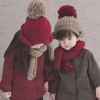 Children Winter Hat Scarf Set Ball Hat Pompom Beanies Baby Girls Boys Warm Fleece Cap Scarf