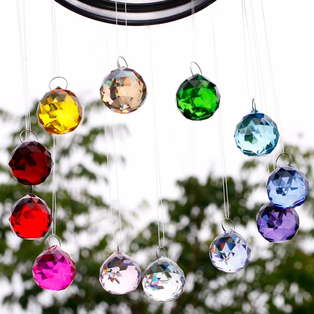 12pc 30mm Crystal Dreamcatcher Colorful Ball Prism ...