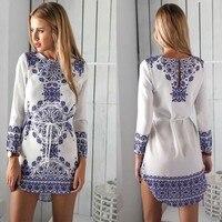 2017 Explosions Loisirs Vintage Robes Chinois bleu blanc porcelaine Automne Femmes Vérifier Imprimer Printemps Casual Chemise Dress Mini dress