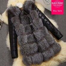 Winter warm imitation fox fur with PU coat Korean version women 's fox fur women' s faux fox fur thicker warm coat J20