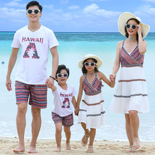 Beach family matching outfits look mother daughter tank dresses dad son mommy and me clothes mom holiday clothing