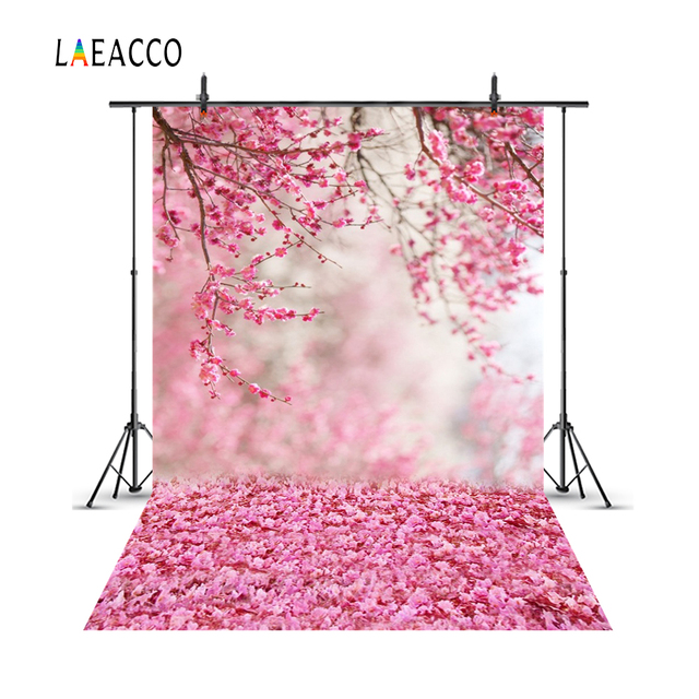Laeacco Pink Spring Blossom Flowers Petal Branch Love Party Newborn Baby Portrait Photo Backgrounds Photo Backdrops Photo Studio