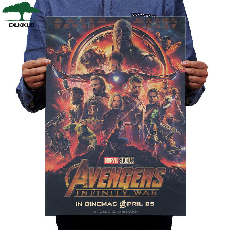 DLKKLB Marvel Movie Vintage poster Avengers 3 Infinite War Wall Sticker Bar Cafe Super Hero Home Decoration Painting 51x35.5cm