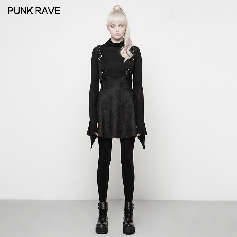 PUNK RAVE Gothic Lolita Girls Cute Mini Skirt Steampunk Black Fashion Strap Skirts Korean Style Lovely Winter Skirts