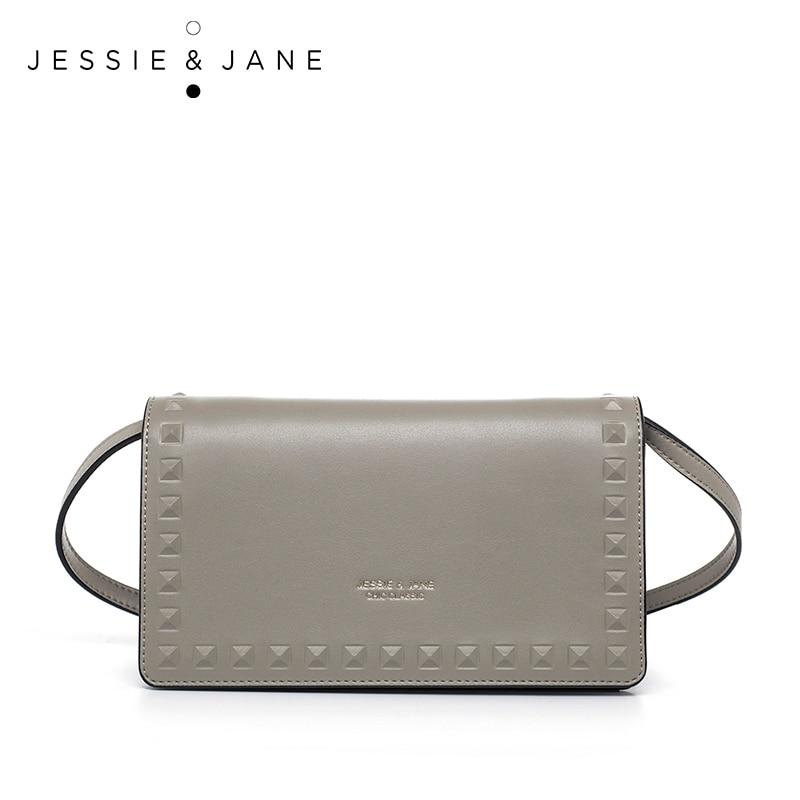 JESSIE JANE Women s Fashion Rivet Design Split Leather Clutch Mini Cross body Bag 1339