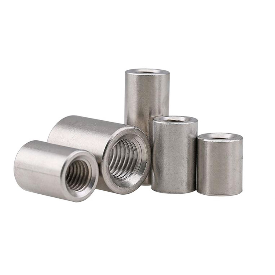 <font><b>1/2</b></font>/5Pcs 304 Stainless Steel Extension And Thick Round Joint <font><b>Nut</b></font> M3 M4 M5 M6 M8 M10-M16 Cylindrical Screw Rod Welded Round <font><b>Nut</b></font> image