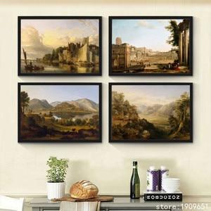 Bez ramki klasyczne miasto dom krajobraz płótnie wydruki obraz olejny drukowane na bawełna domu sztuki dekoracji ściany obraz