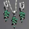 Green Imitated Emerald Red Ruby Silver Color Jewelry Sets Necklace Pendant Drop Earrings For Women Christmas Free Gift Box