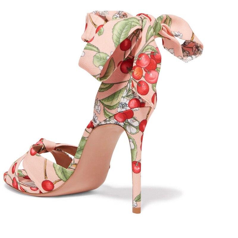 Cravate Talons Sandales Show Lacent New 2018 Mariage Gladiateur As Stiletto Summer Cherry Pompes Blossom Haute Imprimer De Femmes Chaussures Cheville F1xtS