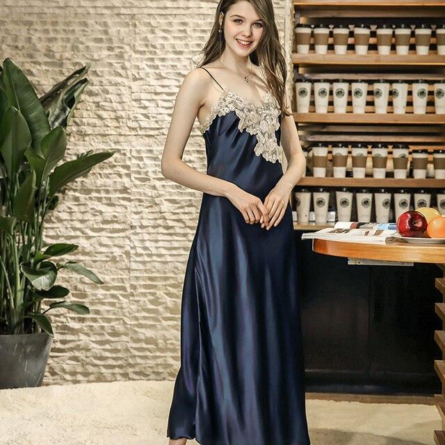 Damen Sexy Silk Satin Nachthemd Lange Nacht Kleid Spitze Sleep Sommer Nachthemd V ausschnitt Schlaf Kleid Nachtwäsche Für Frauen
