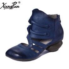 Xiangban 2018 Spring Women Sandals Baotou Casual Mid Heels Genuine Leather Women Summer Boots Thcik Heel