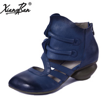 Xiangban 2018 Spring Women Sandals Baotou Casual Mid Heels Genuine Leather Women Summer Boots Thcik Heel