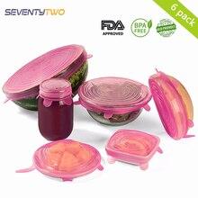 6 шт., силиконовые крышки Cooware, Эластичные крышки для чаши, контейнер, пищевая обертка, миска, крышка для кастрюли, сохраняющая свежесть, уплотнительная крышка