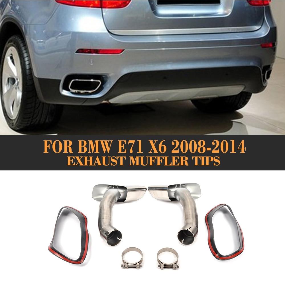 Embouts de tuyau d'échappement en acier inoxydable pour BMW X6 E71 30D 35D 40D 2008 2009 2010 2011 2012 2013