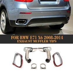 In Acciaio Inox Terminale Di Scarico della Marmitta Suggerimenti Per BMW X6 E71 30D 35D 40D 2008 2009 2010 2011 2012 2013 auto-Styling