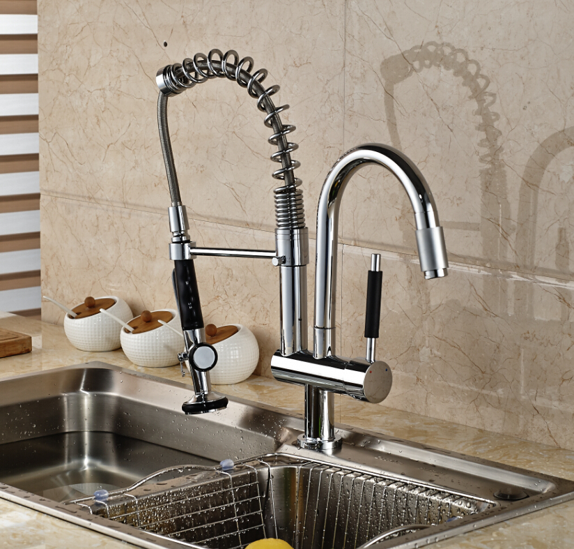 SAMOEL/High Quality Chrome Deck Mount Spring Kitchen Faucet Swivel Spout Single Handle Pull out Spray Sink Mixer Tap good quality chrome brass water kitchen faucet swivel spout pull out vessel sink single handle deck mounted mixer tap mf 376