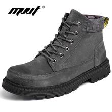 Plus Size 47 Men Winter Boots With Fur Top Suede Leather Boots Men Ankle Boots Lace-Up Fashion Martin Boots Warm Men Footwear