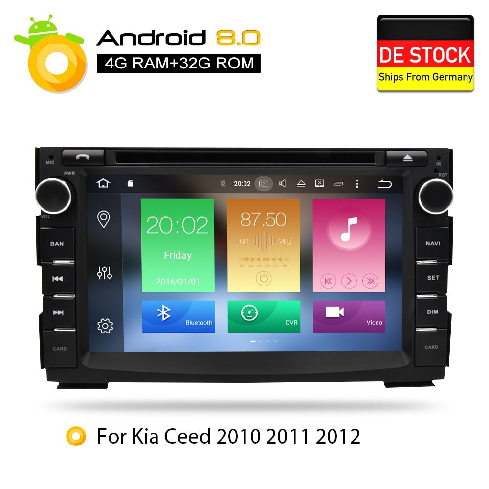 Android 8.0 Voiture Lecteur DVD GPS Glonass Navigation Multimédia pour Kia Ceed 2010 2011 2012 Auto BT RDS Radio Audio vidéo Stéréo
