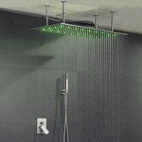 Большой 40*80 см потолочный светодиодный дождь Spa Насадки для душа комплект Ванная комната тропический Душ Горячая Холодная душа Смесители ко