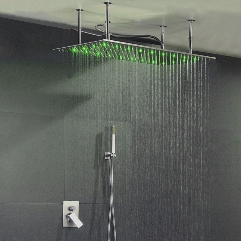 Big 40*80cm Overhead Ceiling LED Rain Spa Shower Head Set Bathroom Rainfall Showers Hot Cold Shower Faucets Controller Valve new design bath electric led ceiling recessed rainfall shower head 304sus bathroom accessories douche overhead shower panel