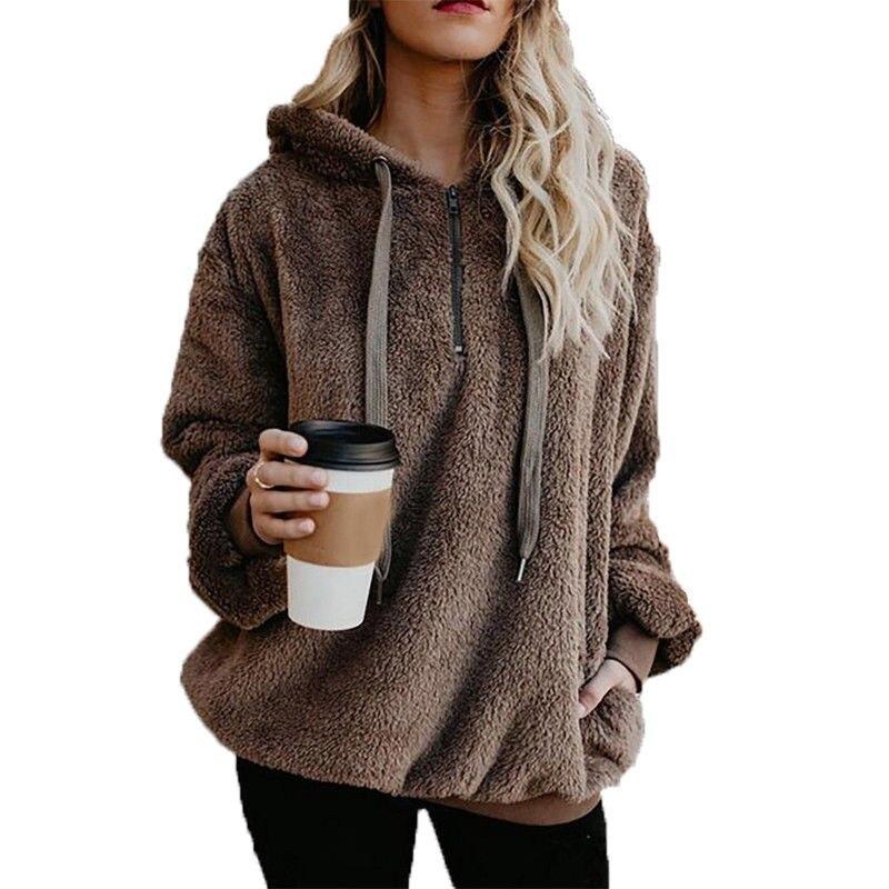 Hirigin New Fashion Thick Women Zip Hoodie Flannel Sweatshirt Lady Hoodies Sweatshirts Pullover Fluffy Jumper Outwear Tops