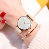 2017 Gold Watch OLEVS Women Luxury Brand Geneva Ladies Quartz Watch For Girl Full Stainless Steel