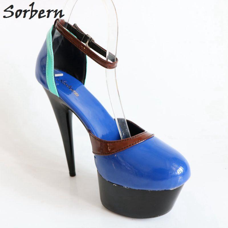 Photo Personnalisée Rond 15 Couleur Bleu Bout Cm Talon Réel Dames Chaussures Spike Femmes Talons De Haut Sorbern forme Plate Cheville Sangles Pompes Sexy PqBUvqw1K