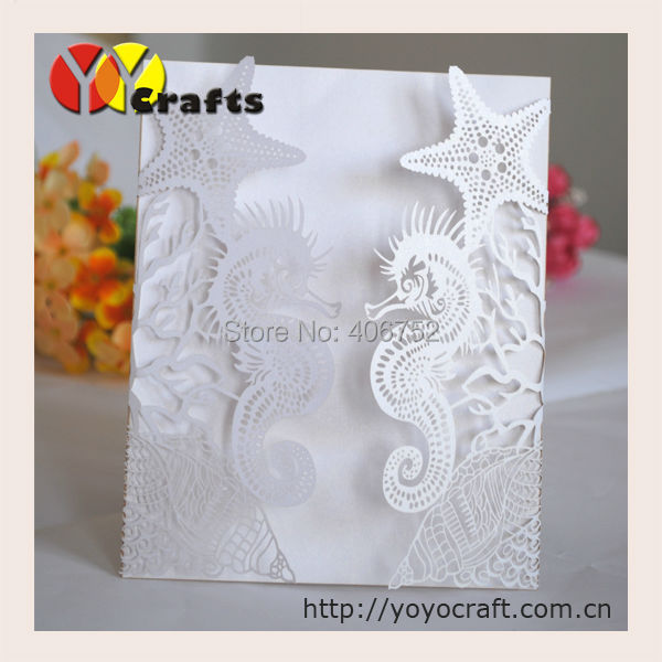 Laser Cut Wedding Invitations Seahorse Design Suitable for Summer